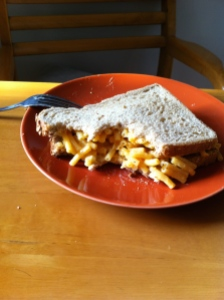 carb loading, mac and cheese grilled cheese